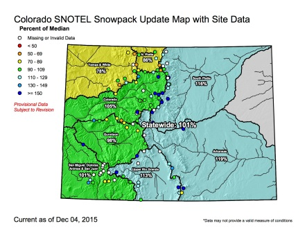 Statewide snowpack map December 4, 2015 via the NRCS