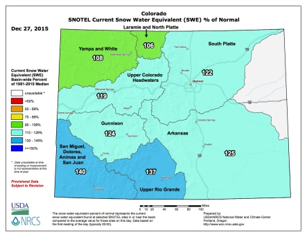 Statewide snowpack percent of normal December 26, 2015 via the NRCS.