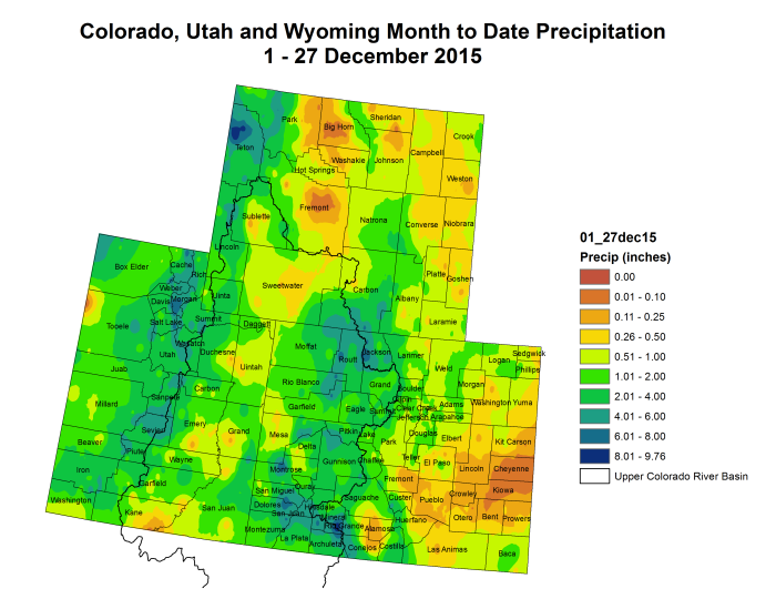 Upper Colorado River Basin month to date precipitation December 1 through December 27, 2015