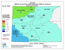 Statewide snowpack map January 1, 2016 via the NRCS