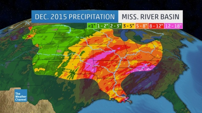 December 2015 precipitation in the Mississippi River Basin via Weather.com.