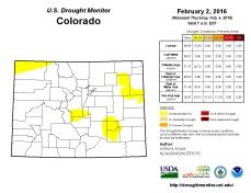 Colorado Drought Monitor February 2, 2016
