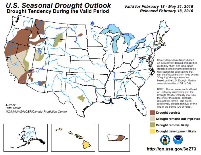Seasonal drought outlook through May 31, 2016 via the Climate Prediction Center.