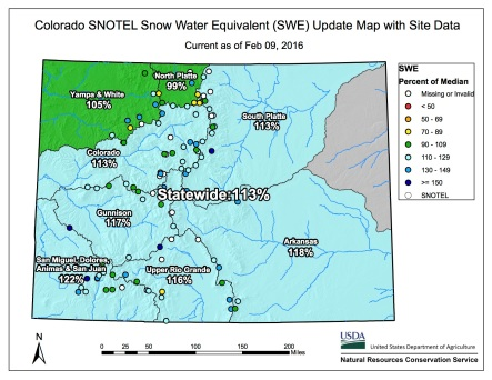 Statewide snowpack map February 9, 2016 via the NRCS.