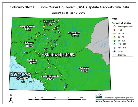 Statewide snowpack map February 17, 2016 via the NRCS.