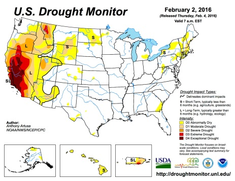 US Drought Monitor February 2, 2016