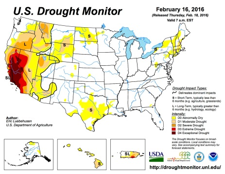 US Drought Monitor February 16, 2016.