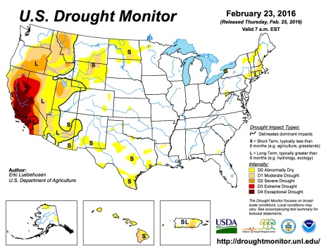 US Drought Monitor February 23, 2016
