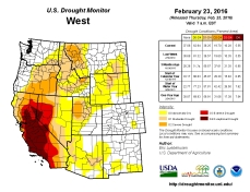 West Drought Monitor February 23, 2016