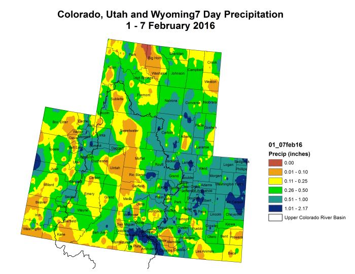 Upper Colorado River Basin precipitation February 1 through February 7, 2016 via the Colorado Climate Center.