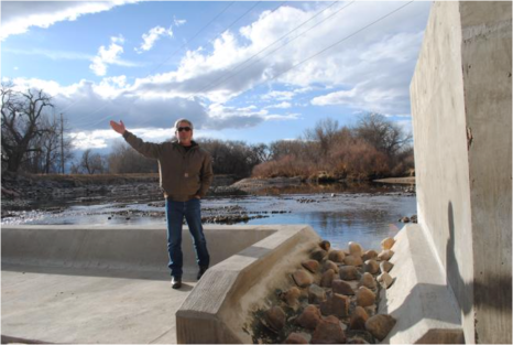 Scott Hummer, general manager of North Poudre Irrigation Company, talks about how his agency worked with Fort Collins Natural Areas and Colorado Parks and Wildlife to include a fish passage when the irrigation company replaced a diversion structure on the Poudre River that was destroyed by the 2013 floods. Work was completed [in February 2016]. (Pamela Johnson / Loveland Reporter-Herald)