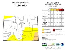 Colorado Drought Monitor March 29, 2016.