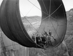 Hoover Dam during construction via Historical Photos.