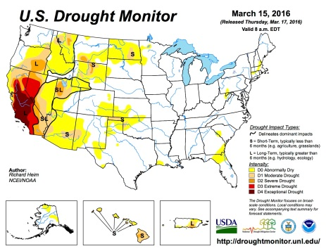 US Drought Monitor March 15, 2016