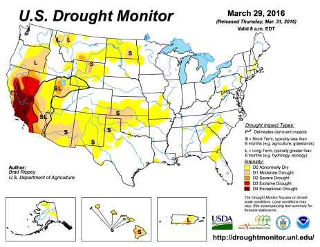 US Drought Monitor March 29, 2016.