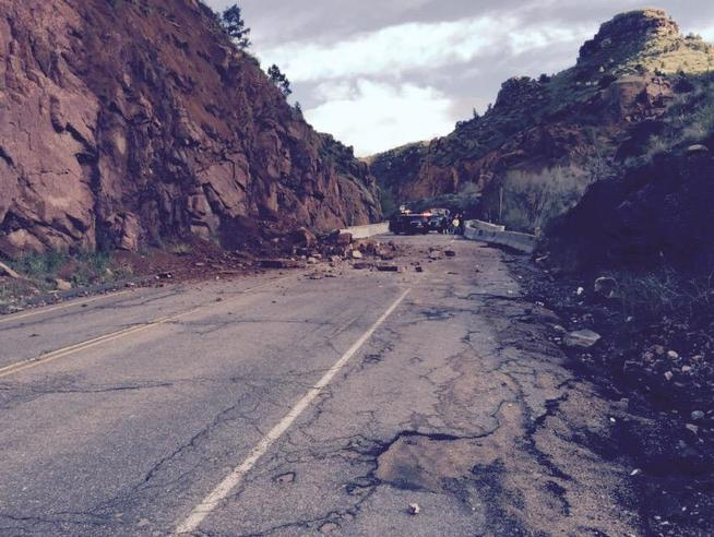 A rock slide just west of Manitou Springs has closed the exit off U.S. 24, Memorial Day morning, May 25, 2015. (Colorado State Patrol via Twitter)