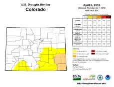 Colorado Drought Monitor April 5, 2016.