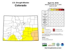 Colorado Drought Monitor April 12, 2016.