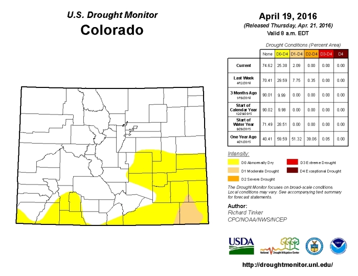 Colorado Drought Monitor April 19, 2016.