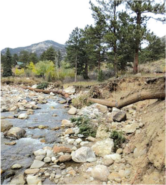 Stabilization Project - Before photo of Fall River. This photo was taken in 2015 prior to the project. Photo the Town of Estes Park.