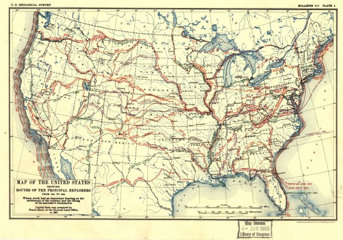 Map of the United States showing routes of principal explorers, from 1501 to 1844. https://www.loc.gov/item/99446132/ [Click to enlarge]