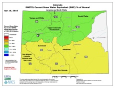 Statewide snowpack map April 10, 2016 via the NRCS.