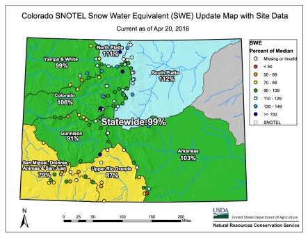 Statewide snowpack map April 20, 2016 via the NRCS.