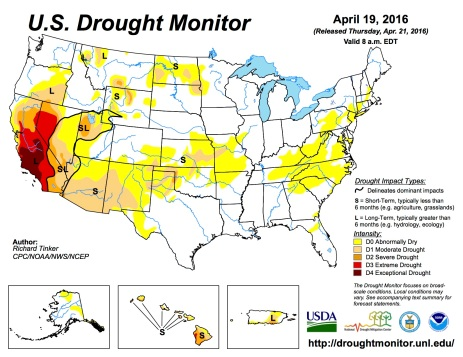 US Drought Monitor April 19, 2016.