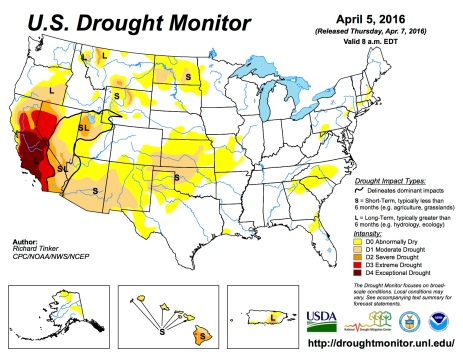 US Drought Monitor April 5, 2016.