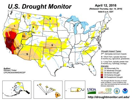 US Drought Monitor April 12, 2016.