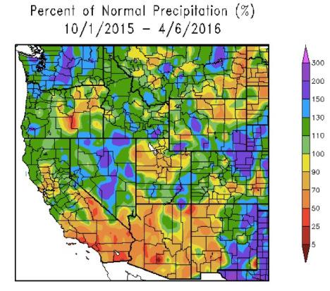 western precipitation map 2016