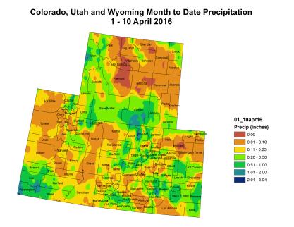 Upper Colorado River Basin month to date precipitation through April 10, 2016 via the Colorado Climate Center.