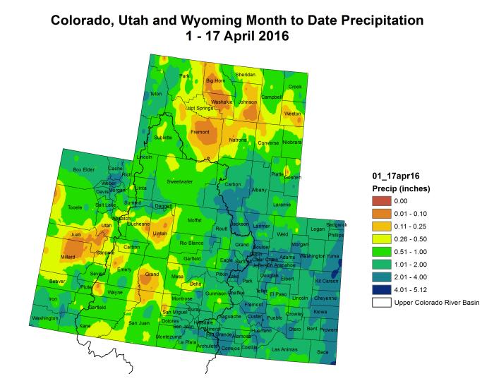 Upper Colorado River Basin month to date precipitation through April 17, 2016