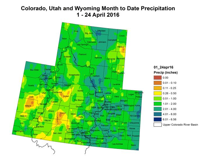 Upper Colorado River Basin month to date precipitation  through April 24, 2016