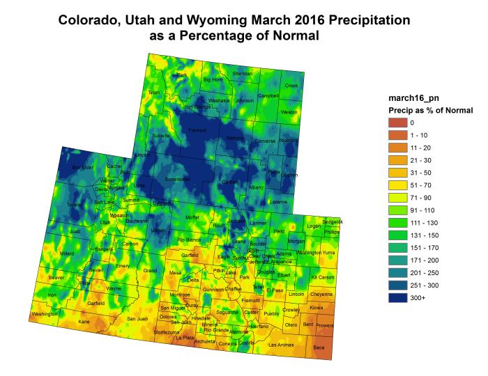 Upper Colorado River Basin precipitation as a percent of normal March 2016 via the Colorado Climate Center.