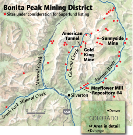 "The ""Bonita Peak Mining District"" superfund site. Map via the Environmental Protection Agency"