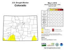Colorado Drought Monitor May 3, 2016.