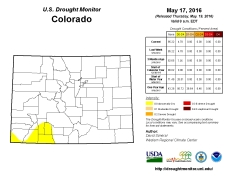 Colorado Drought Monitor May 17, 2016.