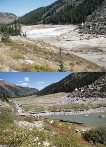 These images show the London Mine in Park County, Colorado, before and after reclamation efforts, made possible with Freeport-McMoRan funds. (Credit: Colorado Division of Reclamation, Mining and Safety)