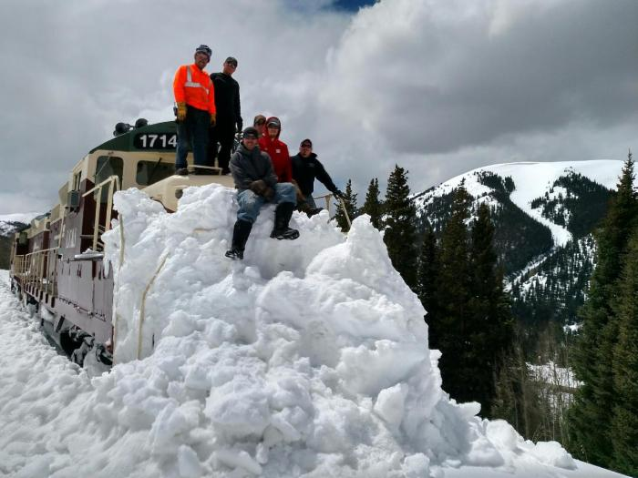 The Leadville, Colorado and Southern Railroad track crew worked hard to clear all of the snow off the train tracks earlier this month. Opening Day is one week from today, May 28. Photo: LCSR