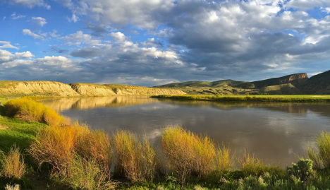 Evening clouds along the Yampa River in northwestern Colorado.