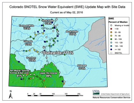 Statewide snowpack map May 2, 2016 via the NRCS.