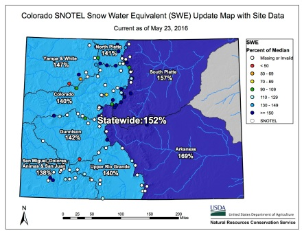 Statewide snowpack map May 23, 2016 via the NRCS.