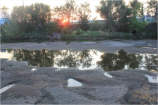 In early August 2012, this is what the South Platte River looked like north of downtown Denver, near the Cherokee power plant. Photo/Allen Best .