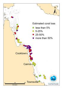Great Barrier Reef mortality map
