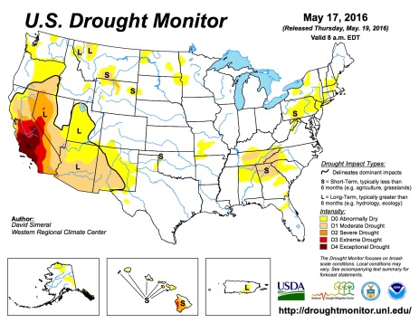 US Drought Monitor May 17, 2016.