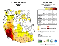West Drought Monitor May 17, 2016.