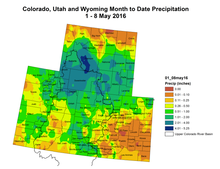 Upper Colorado River Basin May 2016 month to date precipitation through May 8, 2016 via the Colorado Climate Center