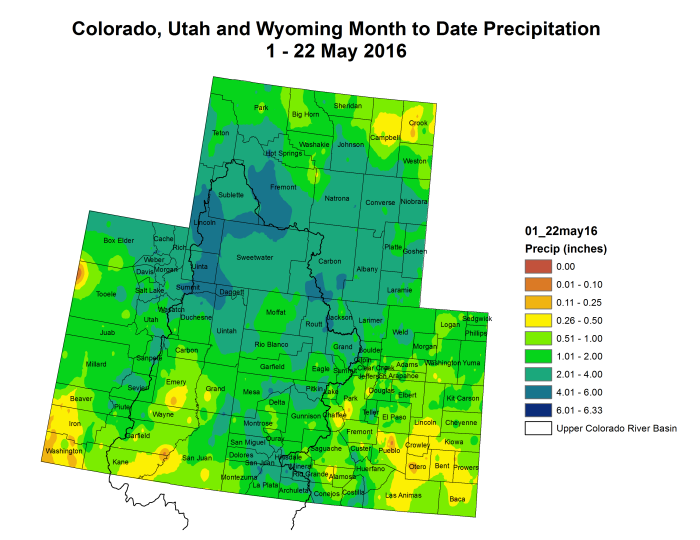 Upper Colorado River Basin month to date precipitation through May 22, 2016 via the Colorado Climate Center.