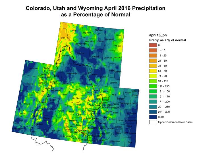 Upper Colorado River Basin April 2016 precipitation as a percent of normal.